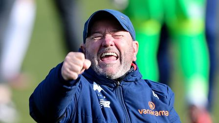 Gary Johnson Manager of Torquay United celebrates the win during the National League match between T