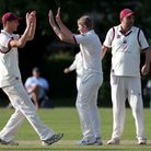 Harry Phillips of Brentwood celebrates taking the wicket