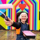 Morag Myerscough with her Love at First Sight artwork.