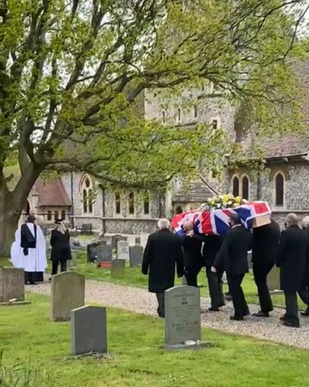 Howard Shepherdson's coffin carried to St Margaret's Church, Hopton.