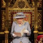 Queen Elizabeth II delivers a speech from the throne in House of Lords at the Palace of Westminster