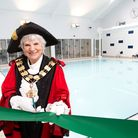 Islington Mayor Cllr Janet Burgess cuts the ribbon to officially open the new Highbury Pool