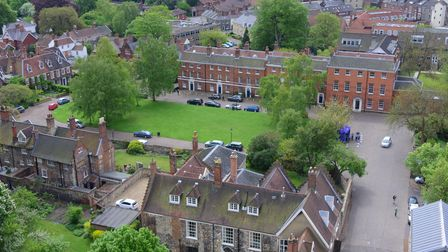 Views of Norwich from the near top of the spire of Norwich Cathedral.