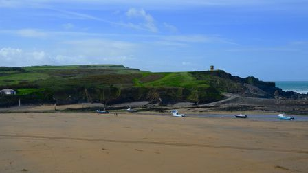 Long stretch of sand at the beach in Bude