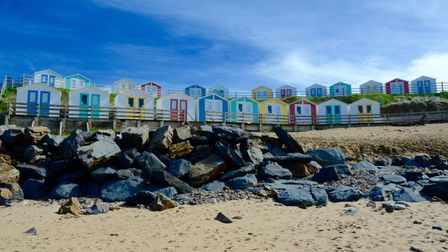 Beach huts on the beach at Bude
