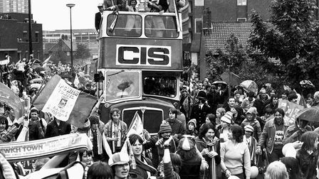Celebrations for Ipswich Town's UEFA Cup win in 1981