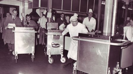 Staff busy in the kitchen at the Norfolk and Norwich Hospital, may have been taken in 1963. Picture: