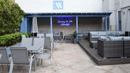 The outdoor bar area at The Moloko in Ipswich