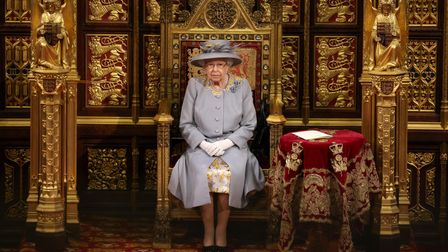 Queen Elizabeth II before she delivers a speech from the throne in House of Lords at the Palace of W