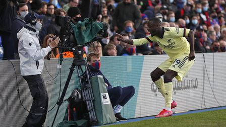 Arsenal's Nicolas Pepe celebrates scoring their first goal against Crystal Palace