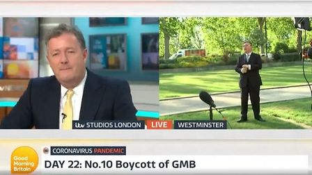 Robert Buckland avoids questions from Piers Morgan on Good Morning Britain. Photograph: ITV.