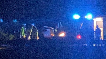 A motorist took this photo from a distance of the collision on the A47 near Wisbech earlier tonight.