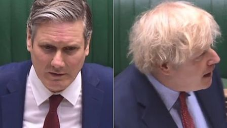 Opposition leader Sir Keir Starmer and prime minister Boris Johnson during PMQs in the House of Comm