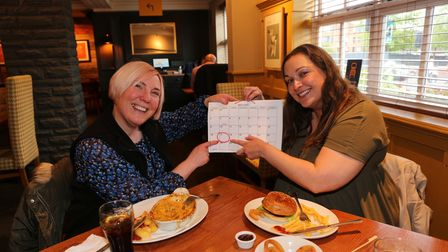 LORNA AND GEORGINA FROM ROMFORD CHECK OUT THE DATE CIRCLED IN RED 17TH MAYLIBERTY BELL RESTAURANT