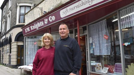 Wendy and EricMoore at F.W. Knights in Lowestoft, which is set to close at the end of May.