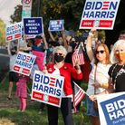 Supporters Democratic Presidential candidate and former US Vice President Joe Biden show their suppo