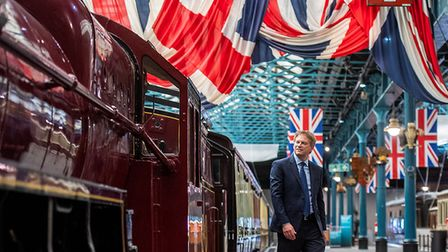 Grant Shapps, Transport Secretary, inspects a steam train upon announcing new flexi tickets for travel