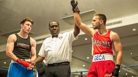 Slavisa Gegic celebrating a win during with his time with Islington Boxing Club