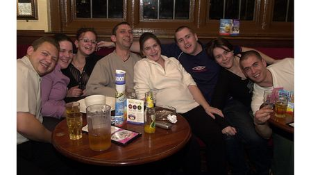 Enjoying a drink with friends at The Cricketers in Ipswich in 2002