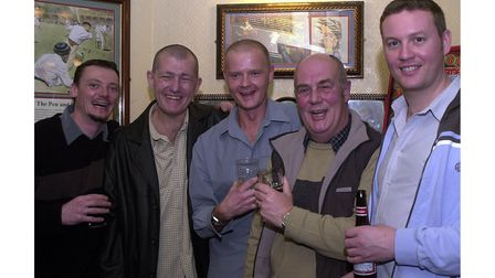 A group of friends atThe Cricketers in Ipswich in 2002