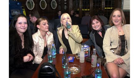 A drink with friends at The Cricketers in Ipswich in 2002