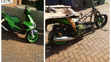 Before and after photos of the dream bike stolen from a Wisbech driveway and found a short while later burnt out.