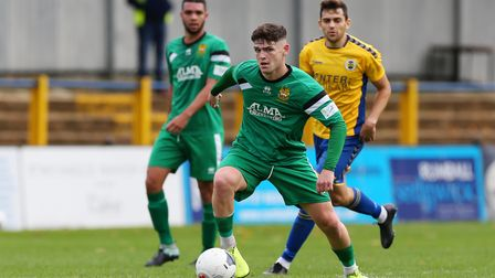 Luke Brown playing for Hitchin Town against St Albans City FC