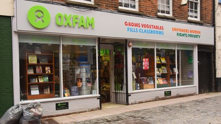 Oxfam Books and Music shop in Bedford Street, which has been inundated with donated books during loc