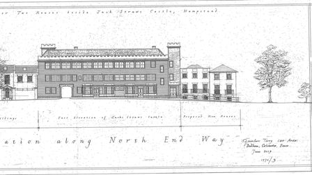 The architect's drawings for two new homes in the car park of Jack Straw's Castle in Hampstead