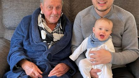 Roy Scammell with grandson Ashley and great-grandson Spencer.