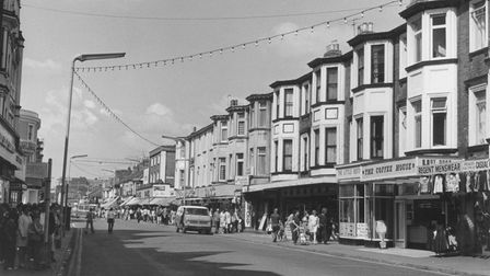 Regent Road looking west from the seafront end at Great Yarmouth in the summer of 1974.