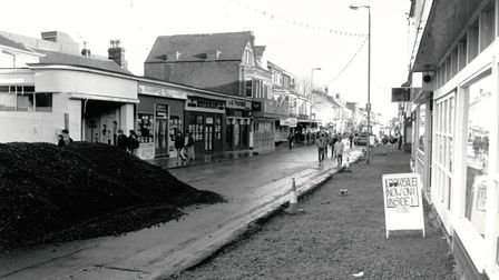 A street view of Regent Road, Great Yarmouth as it is pedestrianised in 1988