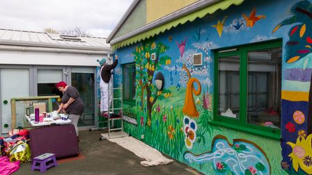 The Hamlet mural painted by Norwich Dandies artists Christina Sabberton, Eloise O'Hare and Dugald Ferguson