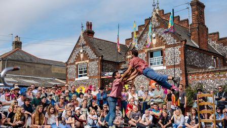 Acrobats at the 2019 Out There festival.