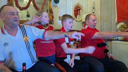 Manchester United fans watch their game against Wolves, December 29