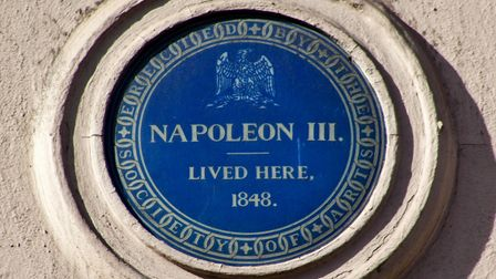 Blue plaque in King Street, London noting that Napoleon III once lived there.