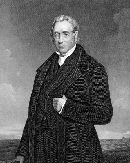 George Stephenson (1781-1848) on engraving from 1873. English civil engineer and mechanical engineer