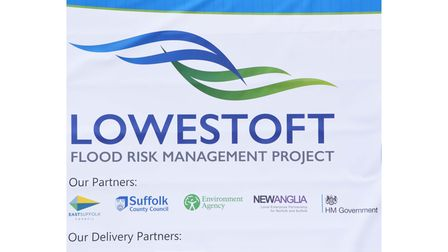 Banners showcasing the Lowestoft FRMP at the start of construction works to reduce the risk of flooding in Lowestoft.