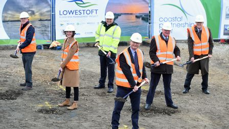 The start of construction works to reduce the risk of flooding in Lowestoft is marked.