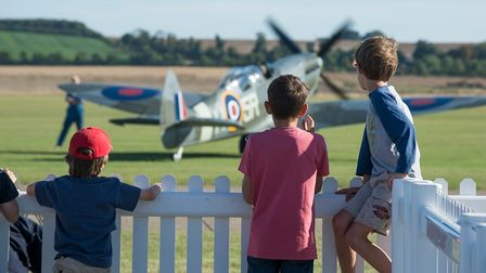 Young aviation fans at Duxford.