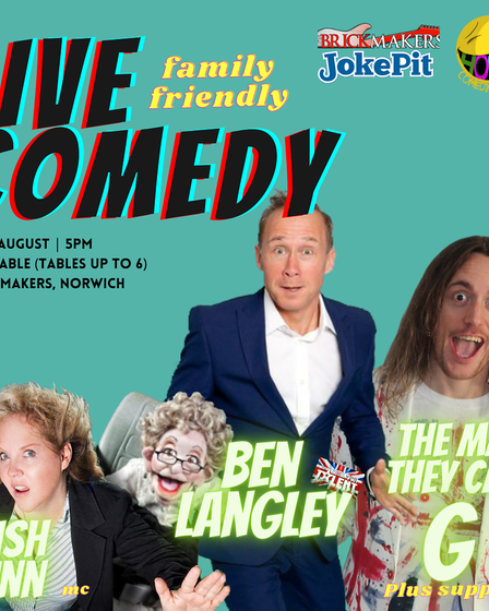 The line-up for the Hooma Comedy Club show at The Brickmakers in Norwich.
