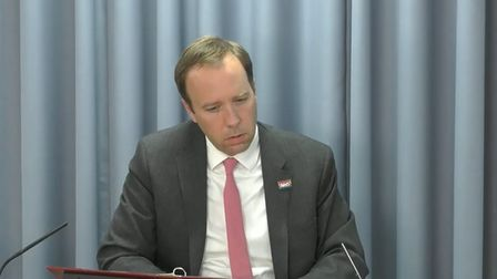 Matt Hancock giving evidence at the Infected Blood Inquiry