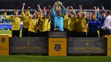 AFC Kesgrave celebrate after winning the Suffolk Junior Cup. Photo: BEN POOLEY