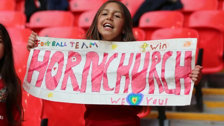 A young Hornchurch fanbefore the Buildbase FA Trophy Final at Wembley Stadium