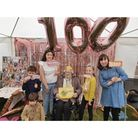 Barbara Cable of Ipswich enjoying her surprise 100th birthday celebration with family in a garden marquee in Kesgrave