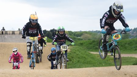 Ipswich BMX Club riders take a lap of the track before the revamp