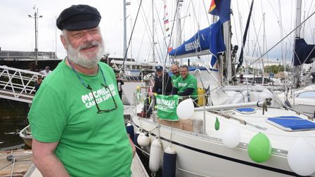 Ipswich cancer patient Olle Nash, front, ready to set off to sail around Britain in aid of Macmillan