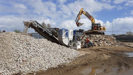 """The concrete crusher thathasbeen busy meaning that""""all this material"""" could be re-used for the bridge."""
