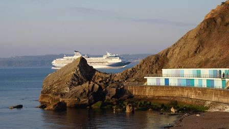 One of thecruise ships sheltering in Tor Bay