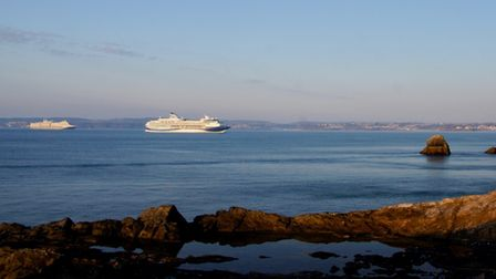 Cruise ships off Meadfoot beach